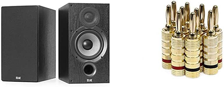 ELAC Debut 2.0 B6.2 Bookshelf Speakers, Black (Pair) & Monoprice Gold Plated Speaker Banana Plugs – 5 Pairs – Closed Screw Type, for Speaker Wire, Home Theater, Wall Plates and More