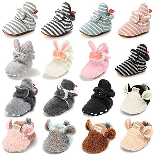 TIMATEGO Newborn Baby Boys Girls Cozy Fleece Booties with Grippers Stay On Slipper Socks Infant Toddler Crib Winter Shoes for Boys Girls, 12-18 Months Infant, 02 Light Grey Dark Grey Baby Booties