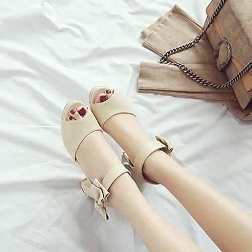 female long225mm dimensioni con ruvide Shoes shoes con selvaggia sandali tacco Single alto estive 35 Bianco Scarpe e Bianco Colore 6w50Tq