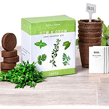 Grow 5 Organic Herbs From Seed with Nature's Blossom Herb Garden Starter Kit. Set Contains Everything a Gardener Needs to Grow Plants - Seeds, Peat Soil, Planting Pots, Plant Markers & Instructions.
