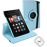 Fire HD 6 Case, GMYLE Folio Case 360 for Amazon Fire HD 6 - Aqua Blue PU Leather Rotating Swivel Flip Case Cover with Multi-angle Stand Function