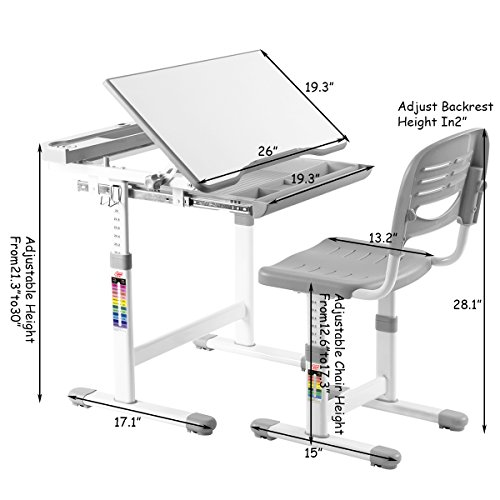 51AJgUkxz4L - VIVO Height Adjustable Children's Desk and Chair Set, Grey