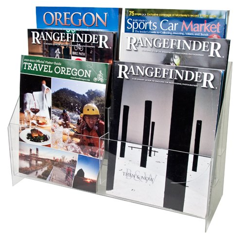 Magazine 6 Pamphlet - Clear-Ad - Acrylic Magazine Organizer 8.5x11 - Plastic Flyer Holder - Brochure Display Stand - Literature Holders 8.5 x 11 - Pamphlet Rack - MPF-8511-6 (Pack of 1)