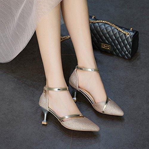 Des Talons Sandales Chaussures Des Femmes Escarpins D'été De Vous Cheville À Scintillent Proximité D'or Bride Orteils Bloc Mi dqgxnw8