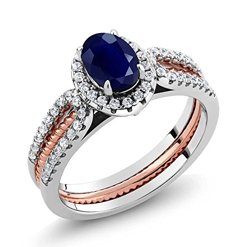 Gem Stone King 925 2-Tone Sterling Silver Blue Sapphire Women's Wedding Band Insert Ring 1.64 Cttw Oval (Size 6) Blue Sapphire Two Tone Ring