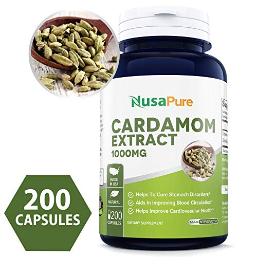 Cardamom Extract 1000mg 200 Capsules (Non-GMO & Gluten Free) Helps Reduce Blood Pressure & Lower Blood Sugar Levels - Help with Digestive Problems - 100% Money Back Guarantee - Order Free Risk!