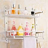 SJQKA Towel rack European Style Carved Bath Towel Rack Stainless Steel Towel Rack Multifunctional Gold Single And Double Layer Bathroom Shelf,I