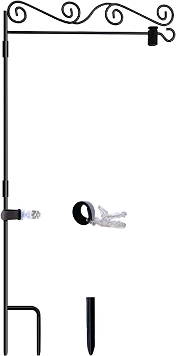 Akeydeco Garden Flag Stand-Holder-Pole with Garden Flag Stopper and Anti-Wind Clip 36.3
