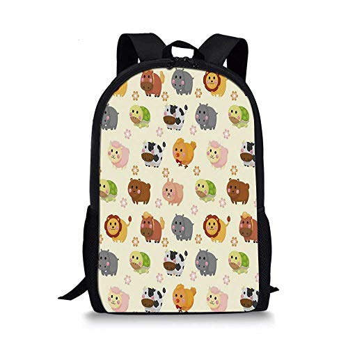 Nursery Stylish School Bag,Cute Animals with Simplistic Art Design Adorable Lion Bear Bunny Cow with Flowers Decorative for Boys,11''L x 5''W x 17''H ()