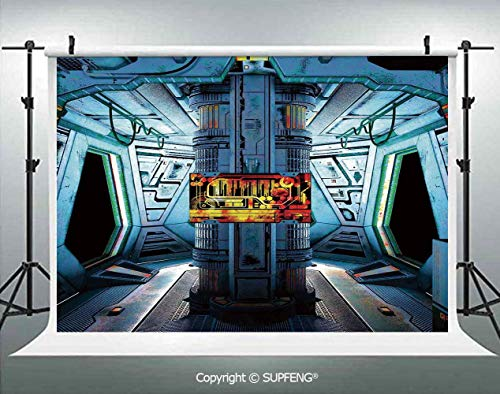 (Photography Backdrops Space Ship Station Base Control Room with Technology Elements Features Image 3D Backdrops for Photography Backdrop Photo Background Studio Prop)