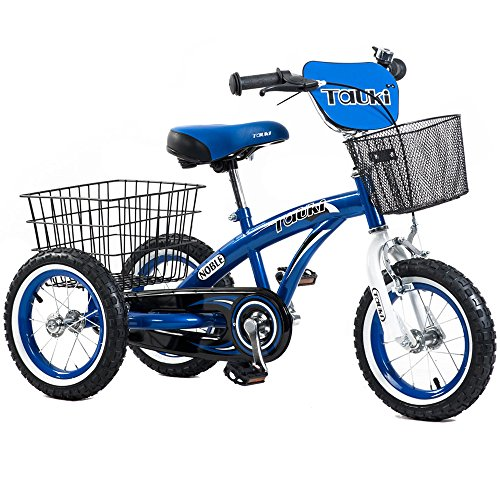 Tauki 12 Inch Kids Tricycle, Front and Rear Baskets, Hand Brake