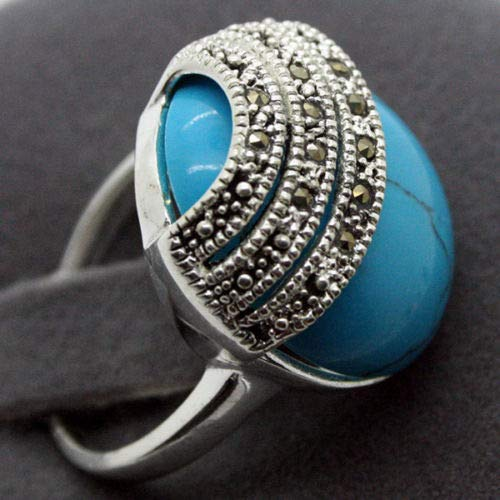 2020mm Blue Natural Stone 925 Silver Bali Handcrafted Ring Size 7/8/9/10 ()