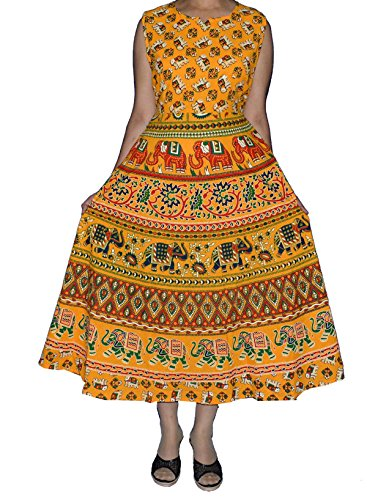 ESHOPITUDE Jaipuri Hand Block Printed 100% Cotton Dress For Women/Girls - Hand Block Printed Cotton Skirt