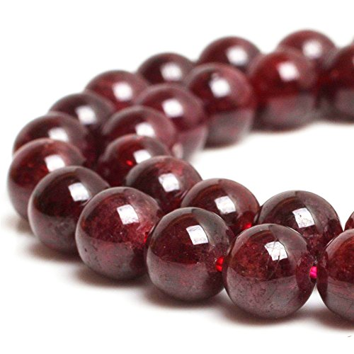 - JARTC Natural Stone Beads Garnet Round Loose Beads for Jewelry Making DIY Bracelet Necklace (8mm)