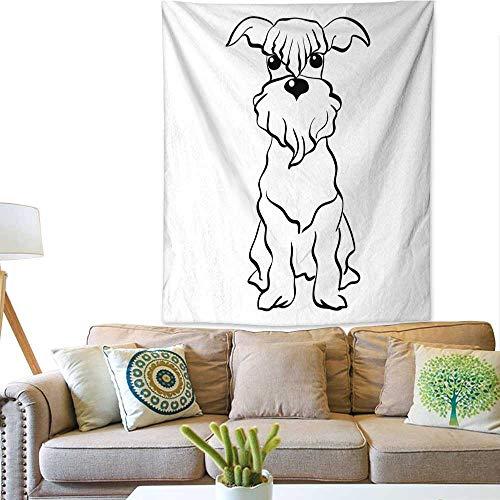 Anyangeight Art Tapestry Vector Sketch Miniature Schnauzer Dog Sitting 70W x 93L INCH