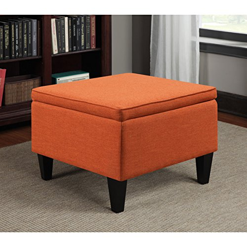 Portfolio Engle Orange Linen Traditional Table Square Storage Ottoman, It Can Be Used As an Ottoman or an Occasional Table