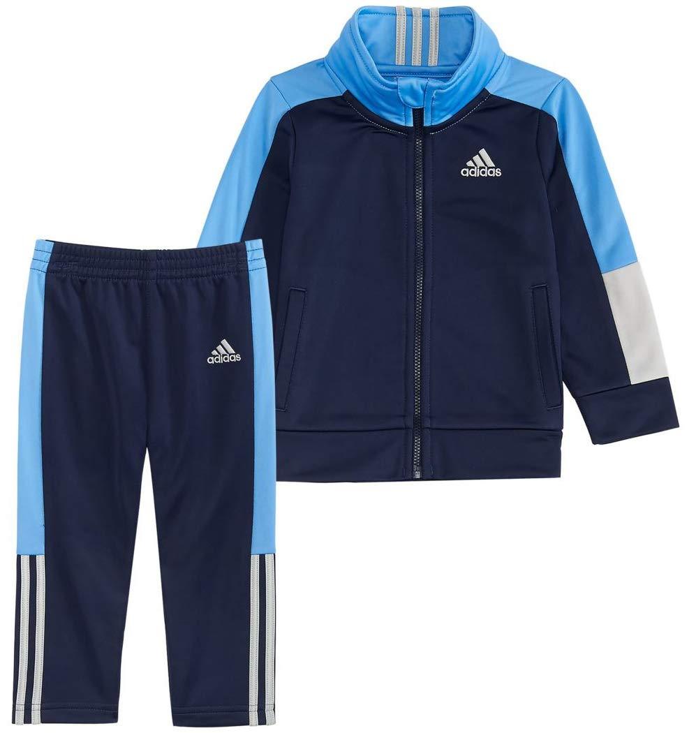adidas Boys' Sport Tricot Jogger Set (Navy/Blue/Grey, 3T)