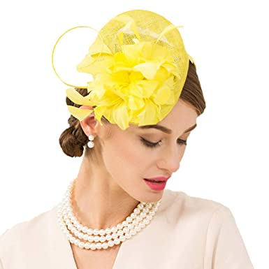 ded779a61c90f FADVES Fascinator Hat Sinamay Feather Pillbox Hats Church Wedding Dress  Derby Yellow