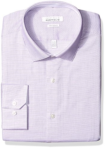 Perry Ellis Men's Slim Fit Wrinkle Free Fashion Dress Shirt, Bright Purple, 18 34/35 ()