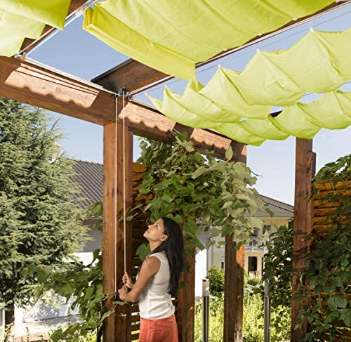 """Windhager Set toldo """"Verde Manzana tecnología de tensado de Cuerdas Juego Completo Incl. Vela 270 x 140 cm, pérgola o Invernadero para la protección Solar Ideal, 10869: Amazon.es: Jardín"""