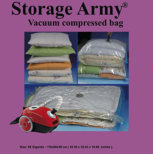 Storage Army [Pack of 5 Gigantic Storage Bags Sealed Compressed Vacuum Bag Save Space Home Organizer and Travel Storage Saver Comforter Bags Protection Against Water   Odor   Mildew   Dust   Insects