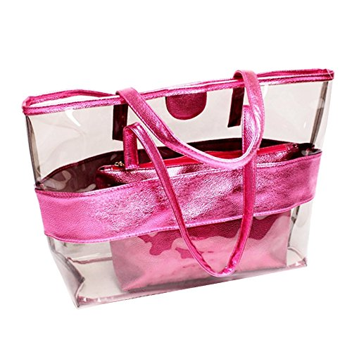 2PCS Lady Women Girl Candy Color Travel Bags Semi-clear Transparent Stripe PVC Beach Cosmetic Shoulder Tote Bag Handbag Pink Pink