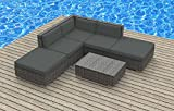 Urban Furnishing - BALI 6pc Modern Outdoor Backyard Wicker Rattan Patio Furniture Sofa Sectional Couch Set - Charcoal (Gray)