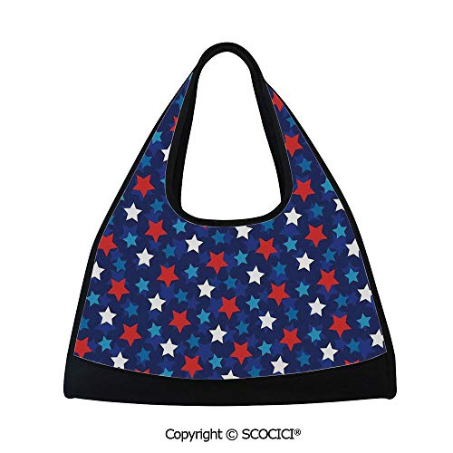 Short distance travel bag,American Flag Inspired Patriotic Design with Stars Image,Sports and Fitness Essentials(18.5x6.7x20 in) Red White Blue and Dark Blue