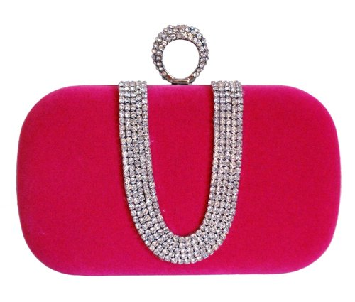 Chicastic Fuchsia Pink Suede Velvet Rhinestone Stud One Ring Decor Evening Cocktail Clutch Bag