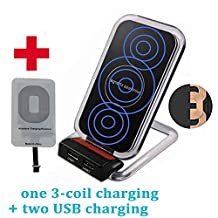 3 Coil Qi Wireless Charger, Inductive Phone Charger Station Powermat with Dual USB Ports for iPhone 6 6s Plus SE 5 5c 5s 7 Plus, Black (Shipped with Charging Receiver for iPhone)