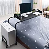 BarleyHome Overbed Table with Wheels, Adjustable Laptop Table for Bed Laptop Cart Bed Tray Side Table Computer Desk with Tower Holder, Black