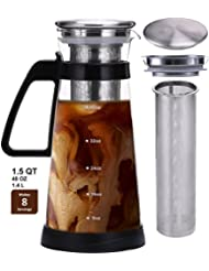 Jalousie Airtight Glass Pitcher Cold Brew Coffee Maker with stainless steel filter ice tea maker serve hot and cold