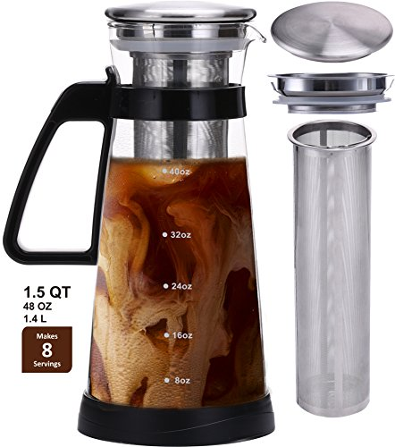 NEW Jalousie Airtight Glass Pitcher Cold Brew Coffee Maker with stainless steel filter ice tea maker serve hot and cold