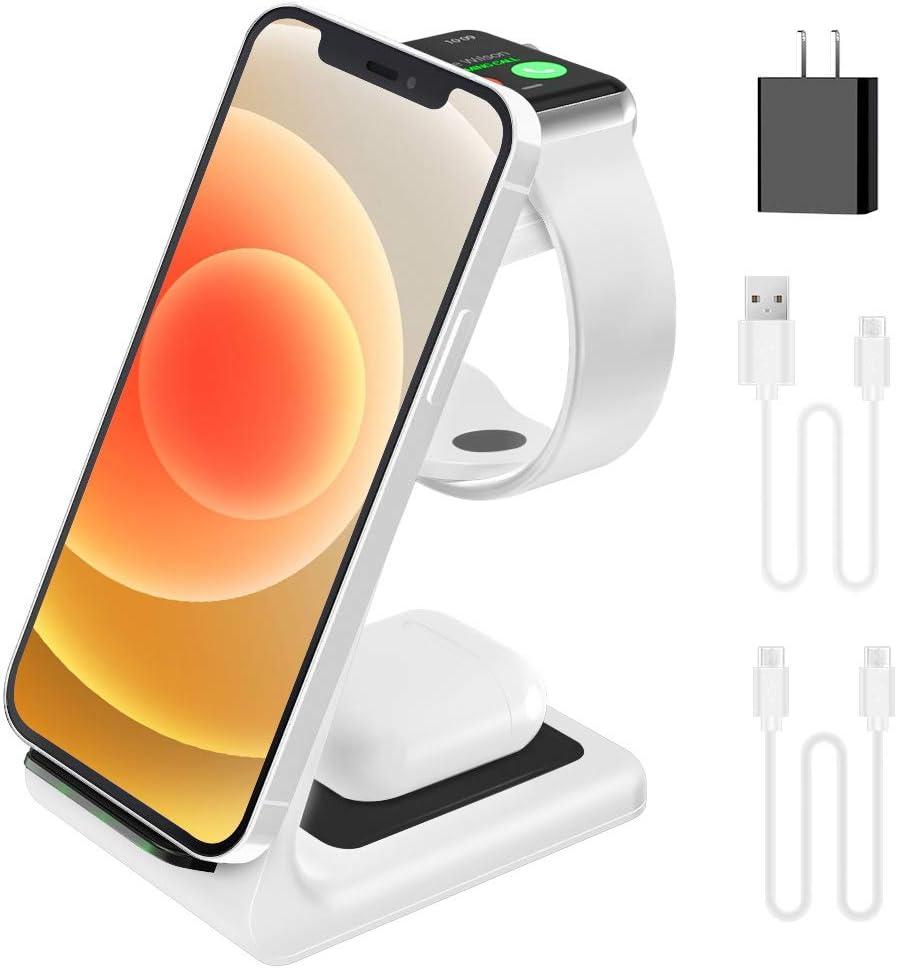 2021 Update Wireless Charging Station, JoyGeek 3 in 1 Wireless Charger, Qi Fast Charging Stand/Dock for Apple Watch SE/6/5/4/3/2, AirPods 2/Pro, iPhone/12/12 Pro/11/SE/X/XR/XS/XS Max/8 Plus (White)