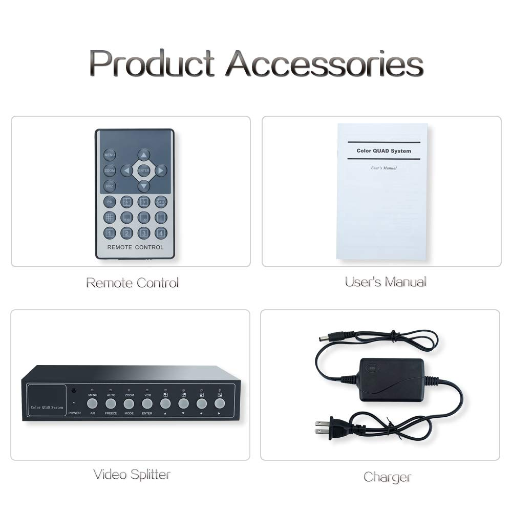 WiseupTM 4Ch Realtime Color Video Quad Splitter CCTV Security Mulitplexer Processor OSD Menu with Audio by WISEUP