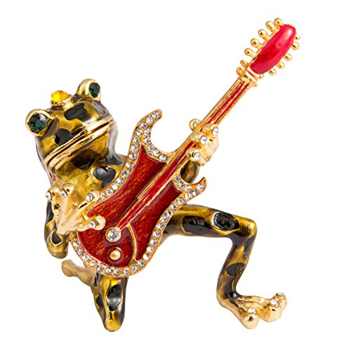 (QIFU-Hand Painted Enameled Frog Style Decorative Hinged Jewelry Trinket Box Unique Gift for Home Decor)