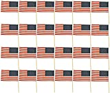Set of 24 American Flags on Sticks! 12''x7'' Flag - 15.75'' Stick - Outdoor or Indoor! Patriotic American Flags Perfect for Lining Driveways, Porches, July 4th, Parties, and Around the House Decorations!