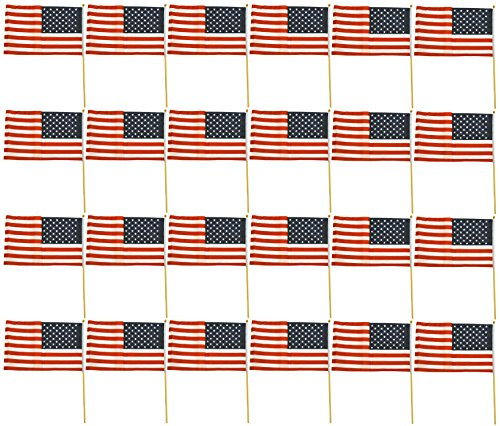 Set of 24 American Flags on Sticks! 12