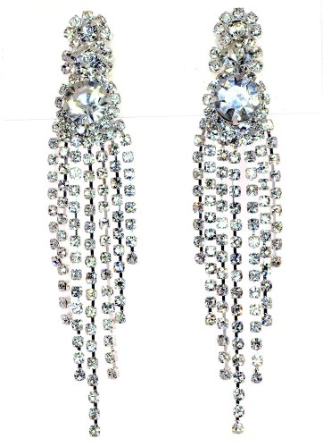 "Glamour Seven Line Diamonite Dangle Duster Crystal-""CLIP ON"" Earrings - Clear"