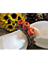 fall pumpkin napkin ring holders for autumn parties and thanksgiving table decoration set of 4
