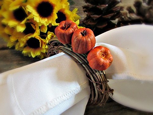 Fall Pumpkin Napkin Ring Holders for Autumn Parties and Thanksgiving Table Decoration (Set of 4, 6, 8, 10, 12)