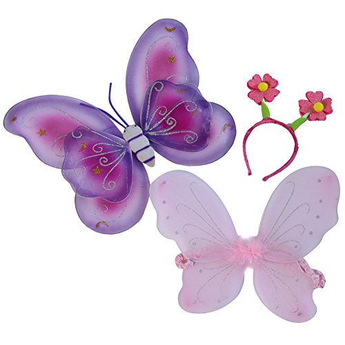 [Girls Butterfly Wings and Flower Heaband 2 Pack Gift Set] (Holiday Recital Costumes)