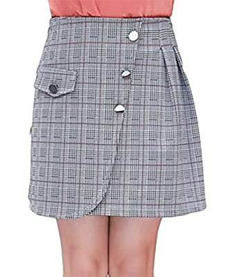 Joe Wenko JWK Womens Casual High Waist Plaid Plus Size A-Line Pull On Skirt