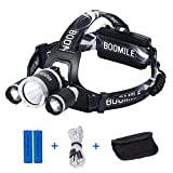 Boomile Rechargeable Headlamp, LED Headlight, Super Bright Head Torch, 6000 Lumens Waterproof Head Lamp with 4 Brightness Modes, Perfect for Running, Camping, Outdoor Hiking and Walking
