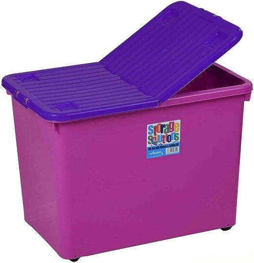 Caja plegable con ruedas y tapa, fucsia-violeta, 80 L, apilable     Caja de almacenaje multifunción Box ruedas Box caja apilable Box XL: Amazon.es: Hogar