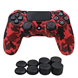 YoRHa Water Transfer Printing Camouflage Silicone Cover Skin Case for Sony PS4/slim/Pro controller x 1(red) With Pro thumb grips x 8