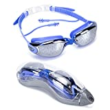 LONSANT Swimming Goggles with Siamese Ear Plugs - UV Protection Anti Fog Clear Lens for Adult Men Women Indoor and Outdoor Ocean Swimming Goggles with Free Earplugs (Blue)