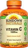 Sundown Naturals Vitamin Supplement High Potency Vitamin C 1000 mg - 300 Caplets