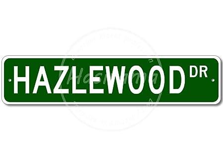 HAZLEWOOD Street Vintage Placa Vintage Metal Cartel de Chapa ...
