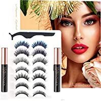 Nature Nation 5D Magnetic Eyelashes and Eyeliner Kit with 2 Colorful Eyelashes, 7 Pairs Different Styles Reusable, Korean...